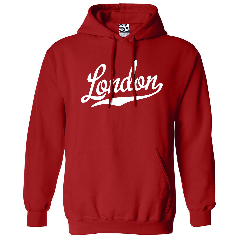 London Script & Tail HOODIE - Hooded School Sports Team Sweatshirt - All Farbes