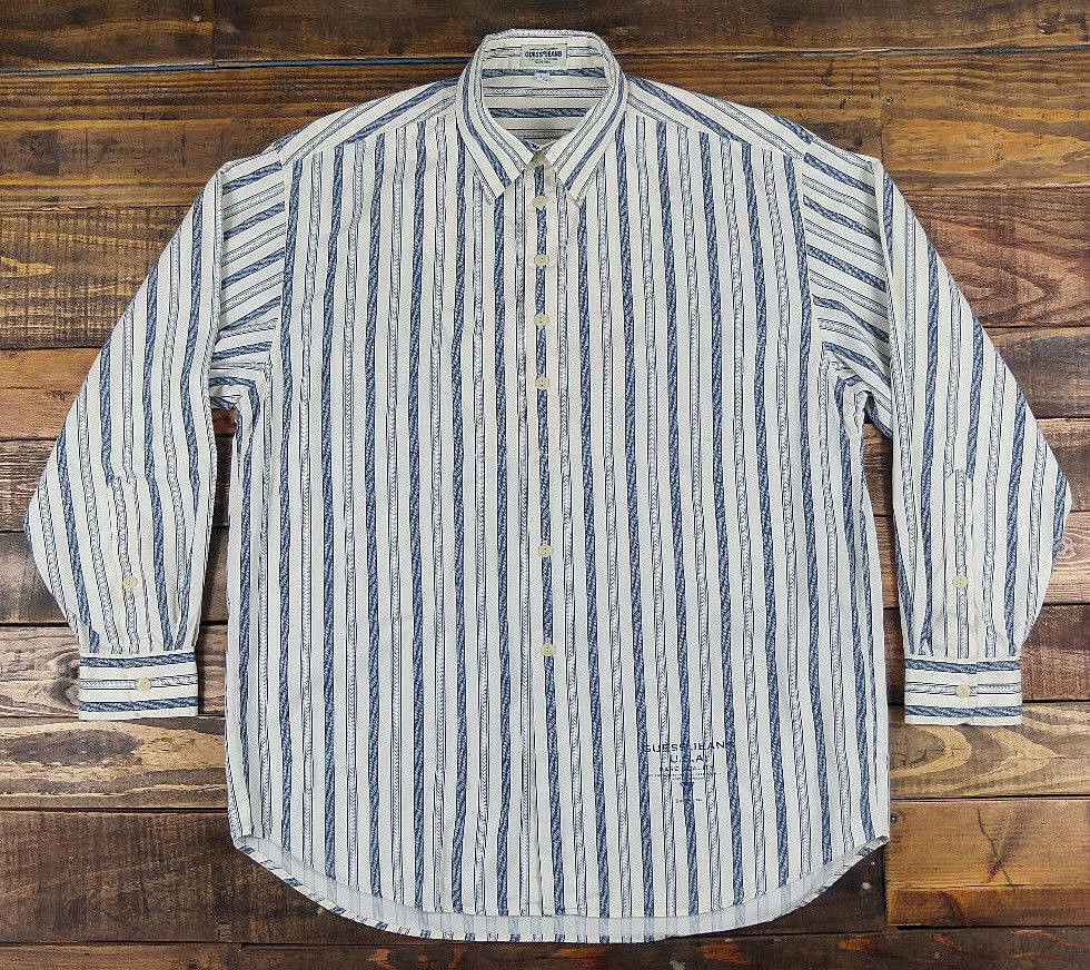 899080cd141 Vintage 90s GUESS Jeans Mens Striped Long Sleeve Button Down Shirt Size L
