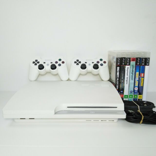 PS3 PlayStation 3 Console Slim White 320GB + 2 Controllers + 7 Games Bundle