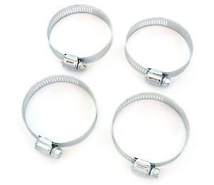 "Set of 4 - 1.25"" - 2.50"" Universal Pod Filter Hose Clamps - Silver"