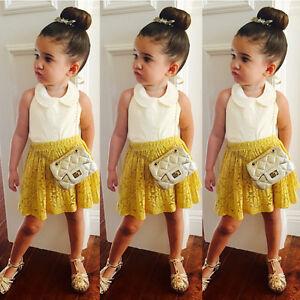 Baby Girls Kids Summer T Shirt Tops Clothes Short Skater Dress Skirt