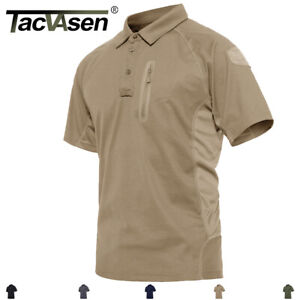 Details about Mens Zipper Pocket Quick Dry Tactical Polo T-Shirt Hunting Military Golf Shirts