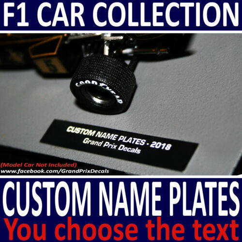 Formula 1 Car Collection CUSTOM Name Plate Decals YOU WRITE YOUR OWN TEXT