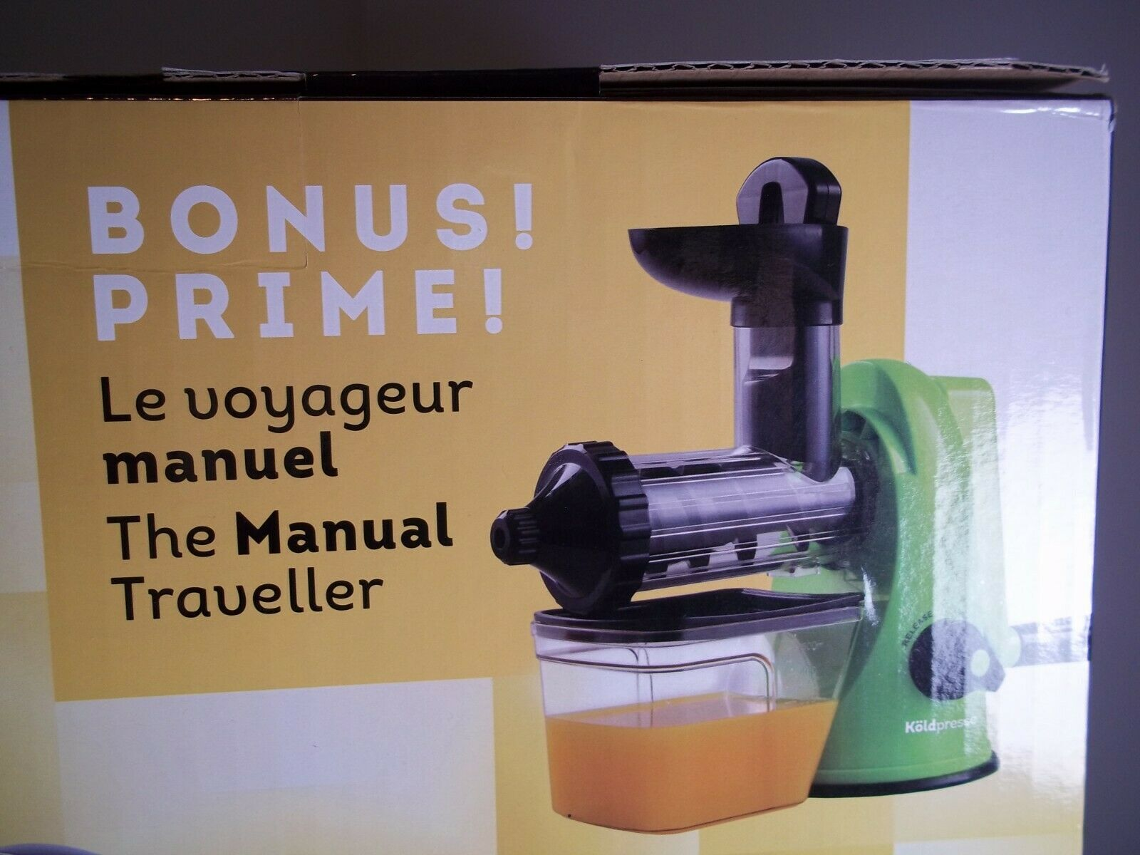 Horizontal jus extracteur koldpresse avec bonus Manual Juice Maker.