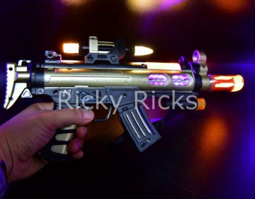 Light Up Military Toy Gun Machine Rifle Kids Moving Barrel LED Tommy Pistol