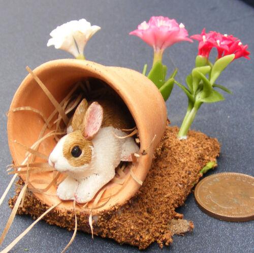 Escala 1:12 marrón y conejo blanco en un Maceta tumdee Casa De Muñecas En Miniatura