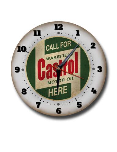 "CASTROL 250MM//10/"" DIAMETER METAL WALL CLOCK,GARAGE CLOCK,WORKSHOP CLOCK,OIL"