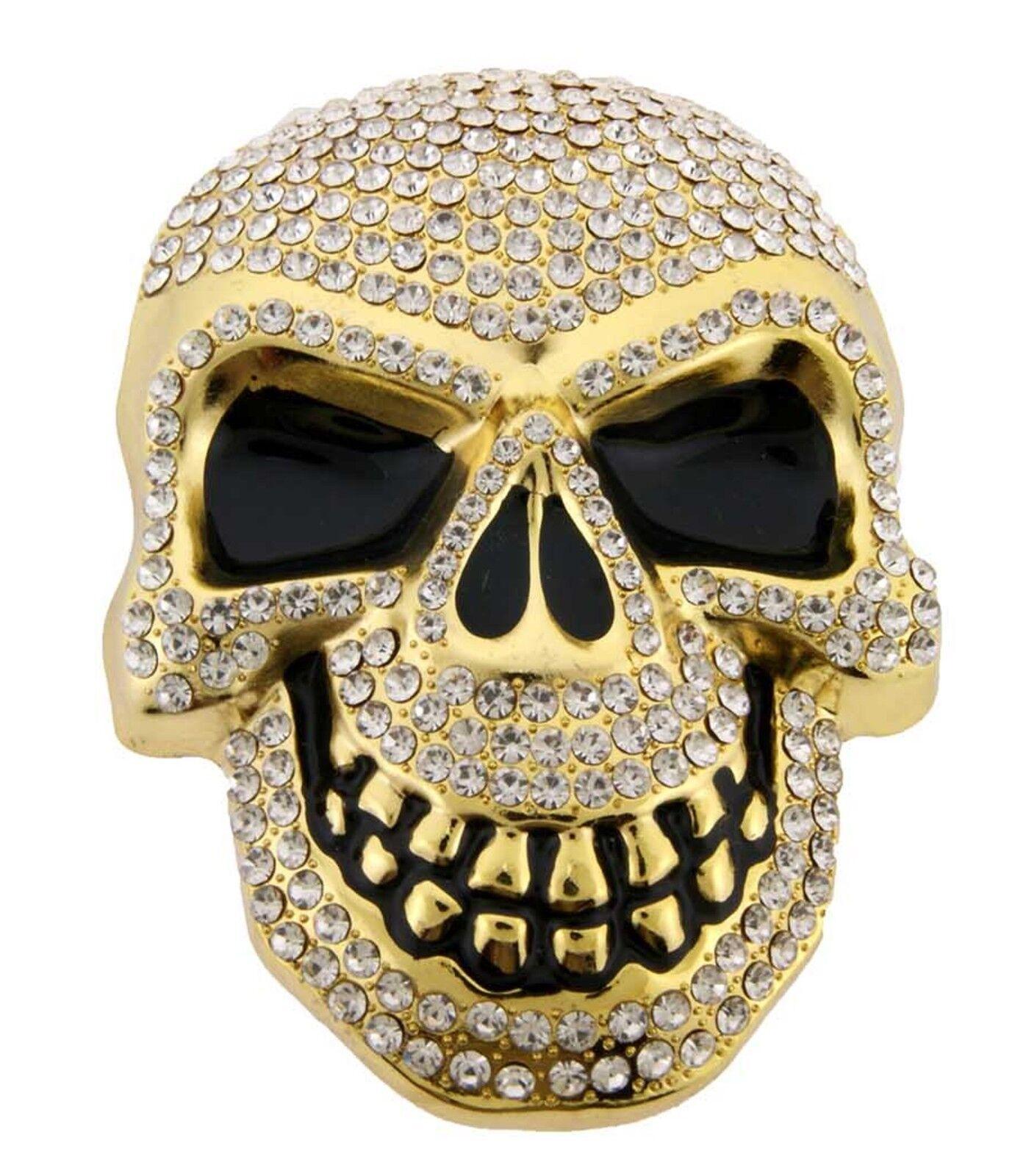 Herren Damen Totenköpfe Skelett Gürtelschnalle Gold Strass Metall Gothic Tribal