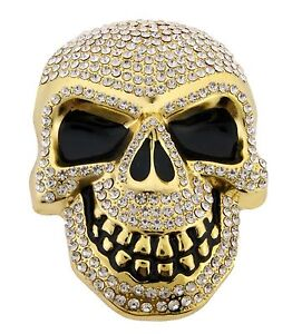 Mens-Womens-Skulls-Skeleton-Belt-Buckle-Gold-Rhinestone-Metal-Goth-Tattoo-Tribal
