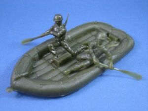 MARX-RAFT-BOAT-WWII-BATTLEGROUND-TOY-ARMY-MEN-3-PIECE-PLAYSET-1-32-FREE-SHIP