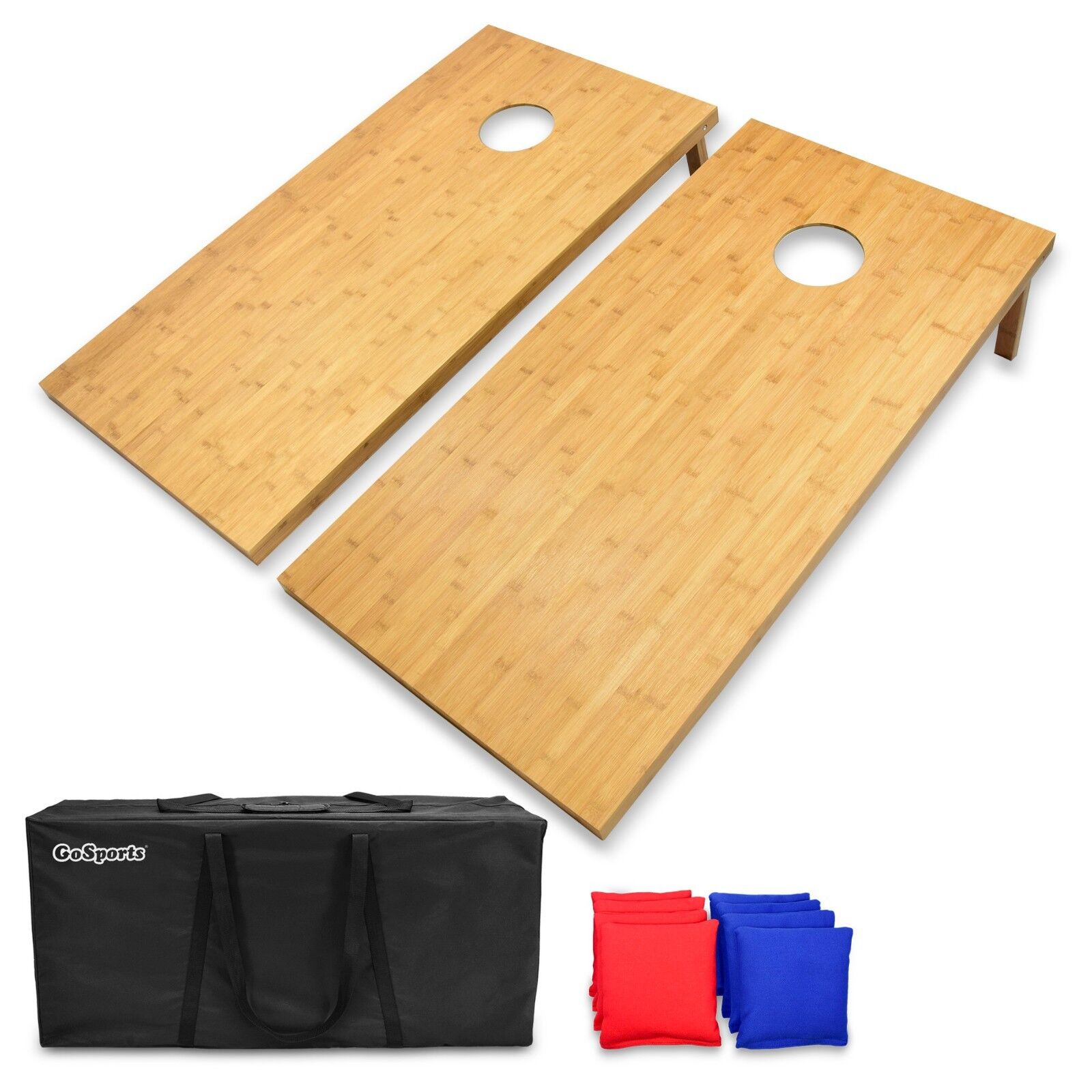 GoSports Regulation Size Bamboo Cornhole Toss Set   8 Bean Bags & Carry Case