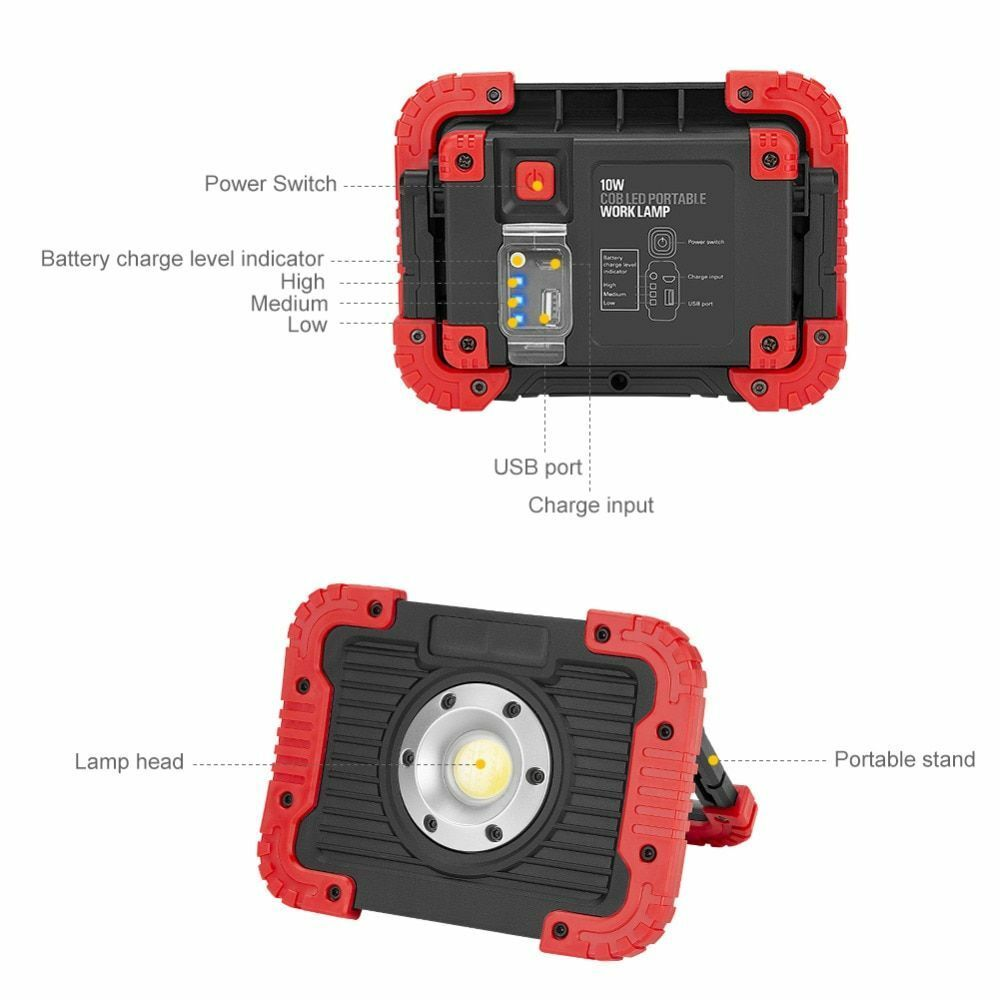 Portable LED Lantern Floodlight Waterproof Work Light With Power Display 3 Mode