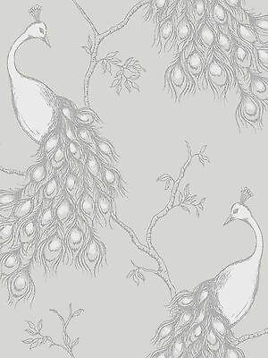 White Fine Decor Empress Peacock Wallpaper FD40712 Soft Grey