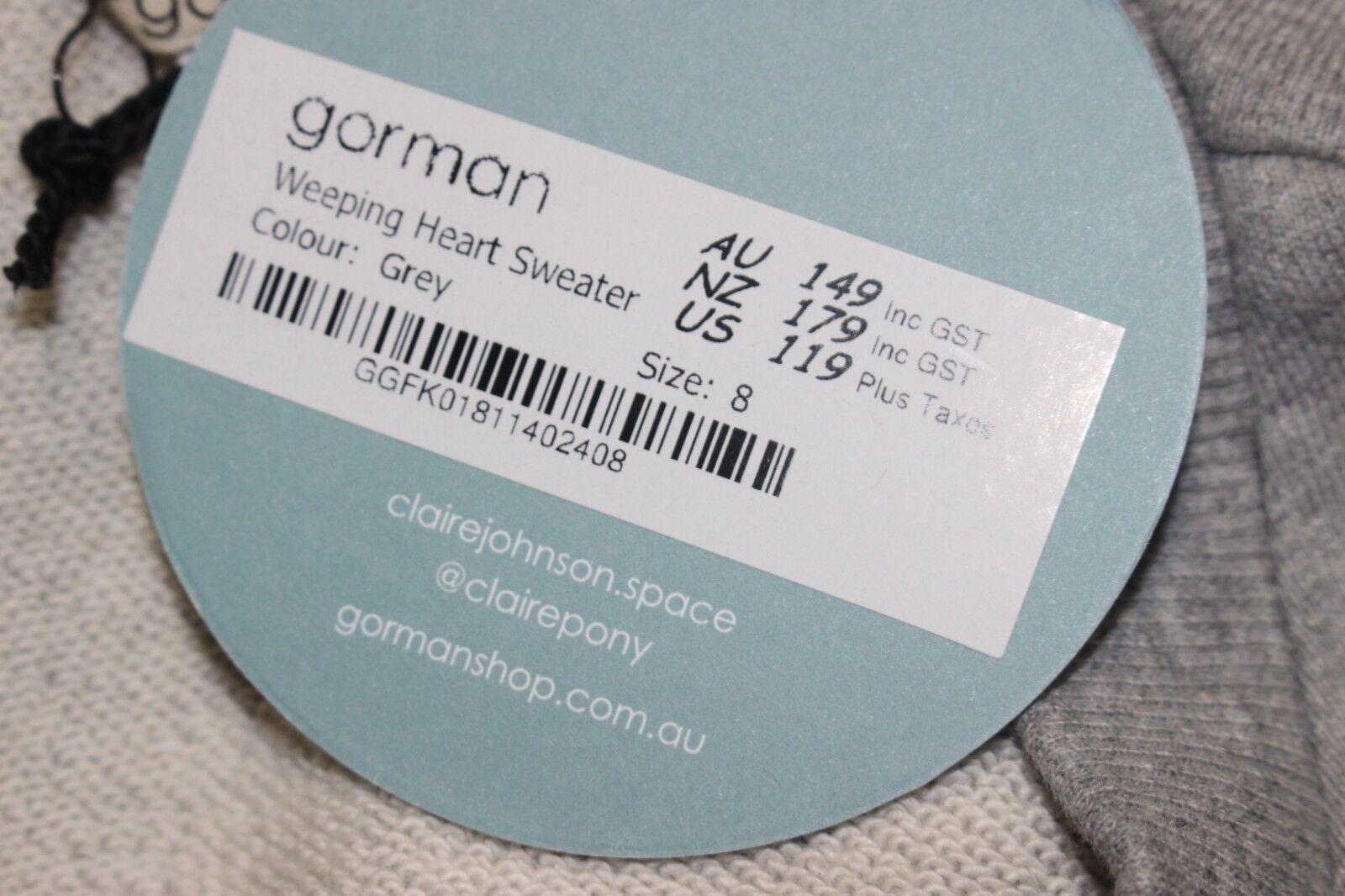 GORMAN GORMAN GORMAN CLAIRE JOHNSON WEEPING HEART SWEATER SWEATSHIRT US SIZE 4 GREY   149.00 604cad