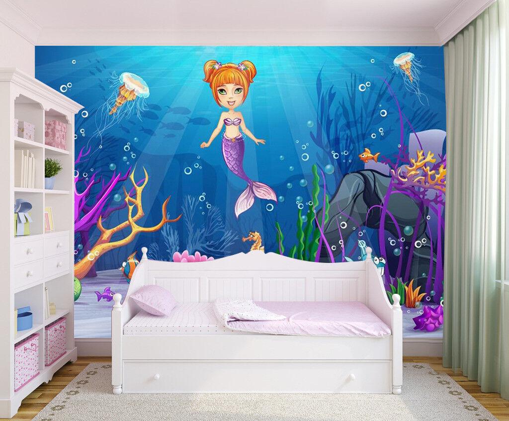 3D Meerjungfrau Ozean 8093 Tapete Wandgemälde Tapeten Bild Familie DE Jenny