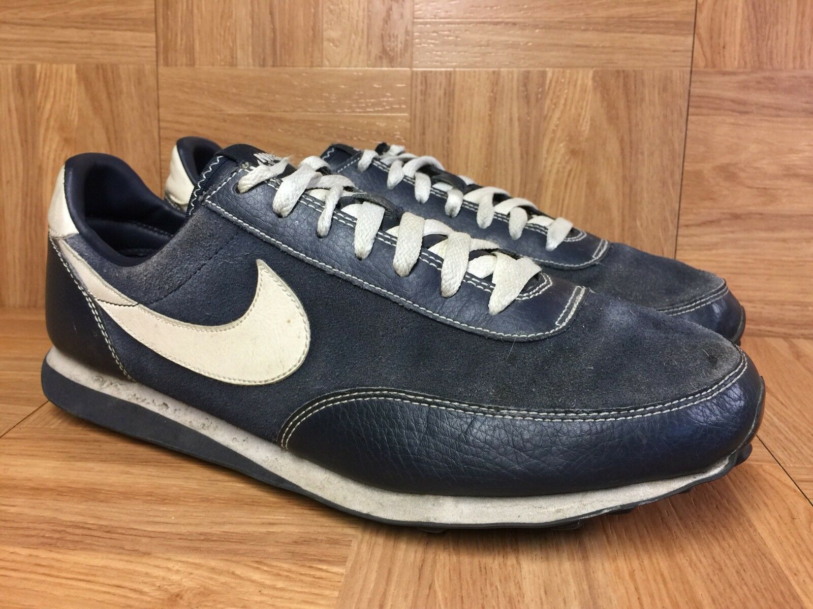 RARE� Nike Elite SI Obsidian Blue Leather Suede Waffle 10 407478-402 Men's Shoe  New shoes for men and women, limited time discount