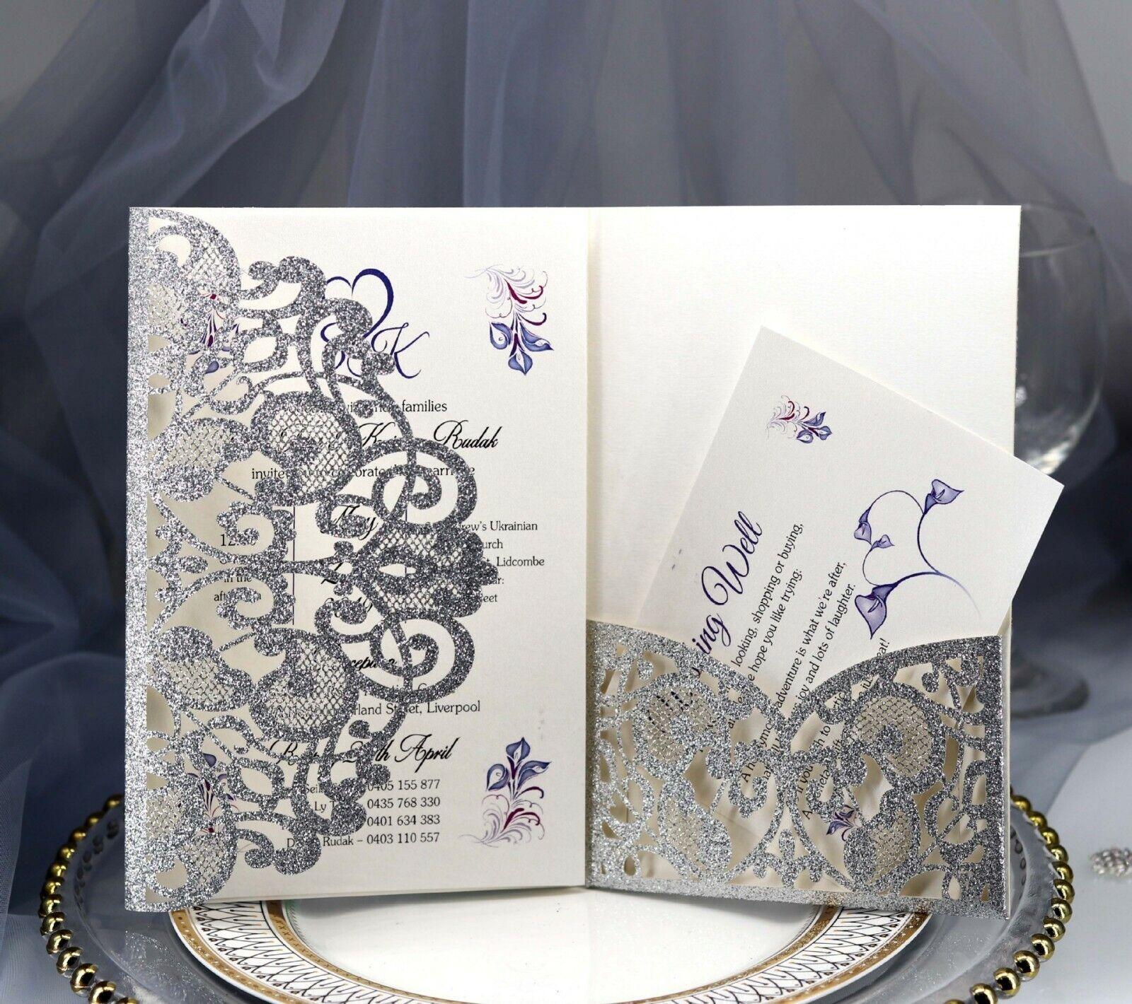 100 Xlaser Cut Paillettes Mariage Invitation Carte Creux Perle conférence invitation