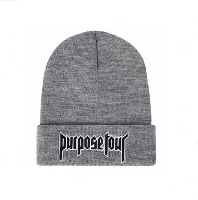 d2c3789a807 New Justin Bieber Purpose Tour Beanie Hat Alternative Solid Embroidered Cap  Gray