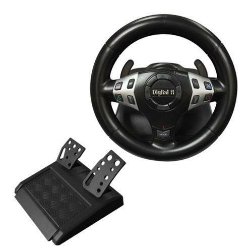New 3 in 1 Vibration Rumble Gaming Racing Steering Wheel Pedal PC USB PS2 PS1