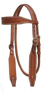 Showman-MEDIUM-OIL-Argentina-Cow-Leather-Barb-Wire-Tooled-Headstall-NEW-TACK