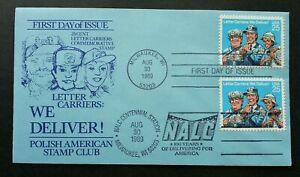 [SJ] USA Letter Carries 1989 Polish American Postman Postal Service (FDC)