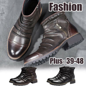 Retro-Men-039-s-Business-Leather-Chelsea-Boots-Zip-Casual-High-Top-Flats-Ankle-Shoes