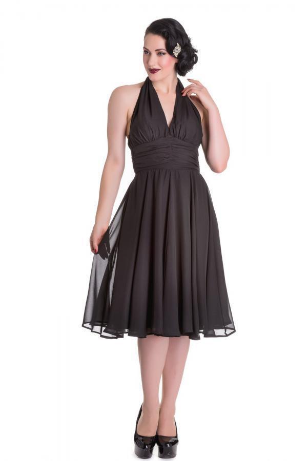 Dress halter schwarz Monroe schwarz classic dress 4556 Hell Bunny