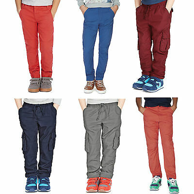 BOYS CHINOS TROUSERS EX M*S 12-18 MONTHS 13-14 YEARS NAVY,BLACK,ORANGE,CHAROCAL
