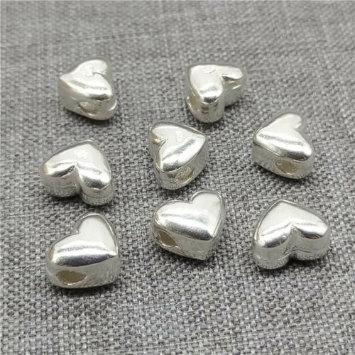 4pcs de 925 Sterling Argent Amour Cœur Perles Pour Bracelet Collier