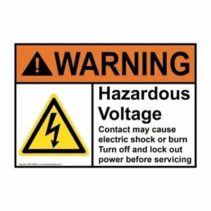 Danger Hazardous Voltage Contact Will Cause Electric Warning Vinyl Decal Sticker
