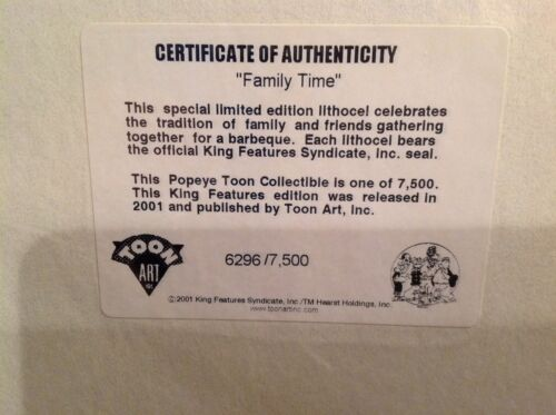 "1999 King Features /""POPEYE/"" Toon Art Collectable /""FAMILY TIME/"" Lithocel-Limited"