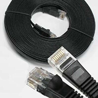 25Ft Cat6 Network Ethernet Modem 32AWG CM Flat Patch Cable Black
