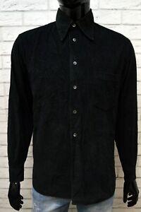 Camicia-Uomo-a-Costine-Nero-GAS-Taglia-M-Maglia-Manica-Lunga-Shirt-Man-Black