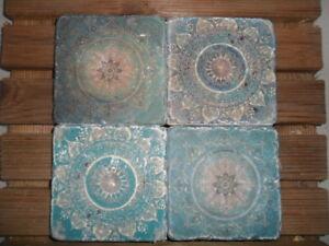 4 Fliesen Kacheln Naturstein Orientalisch Mandala Blau Ebay