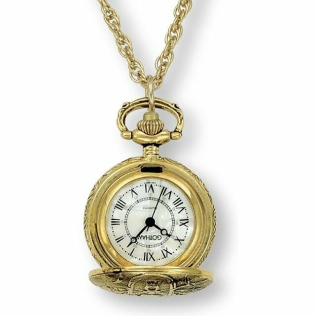Pocket Watch Chains Gotham Women's Antique Design Gold-Tone Quartz Fashion Watch