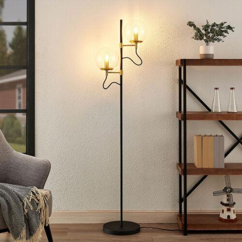 Stehlampe Sotiana Vintage Lucande Zwei Glaskugeln Klar Leuchte E14 Wohnzimmer