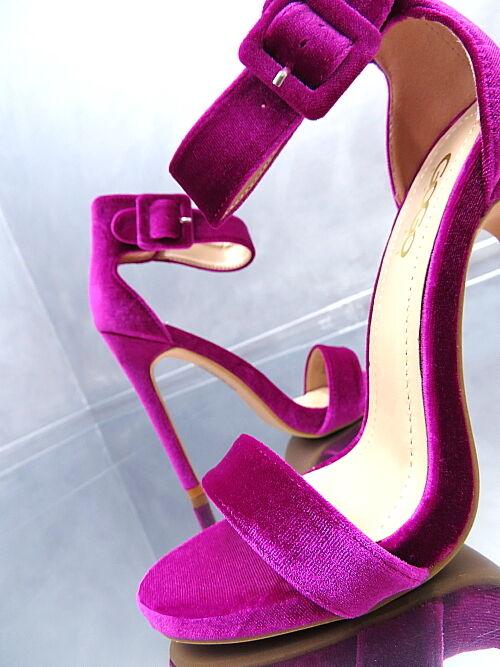 NEU 1 cm Plateau Luxus Velour Sexy Sandalen Pumps Schuhe N48 Sexy Velour High Heels 36 e668aa