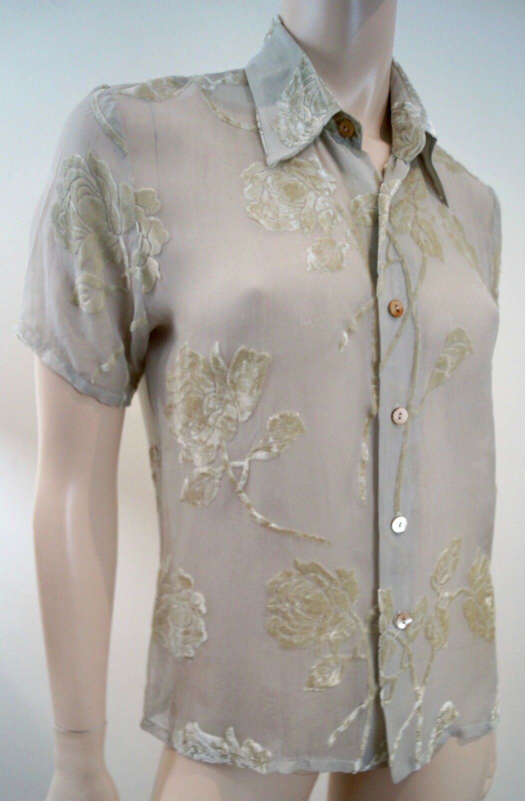 EQUIPMännerT Cream & Grün Tinge Silk Blend Floral Velvet Sheer Evening Blouse Sz M