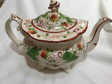 Antique Staffordshire Pearlware Teapot w/Strawberry Pattern, early 1800s
