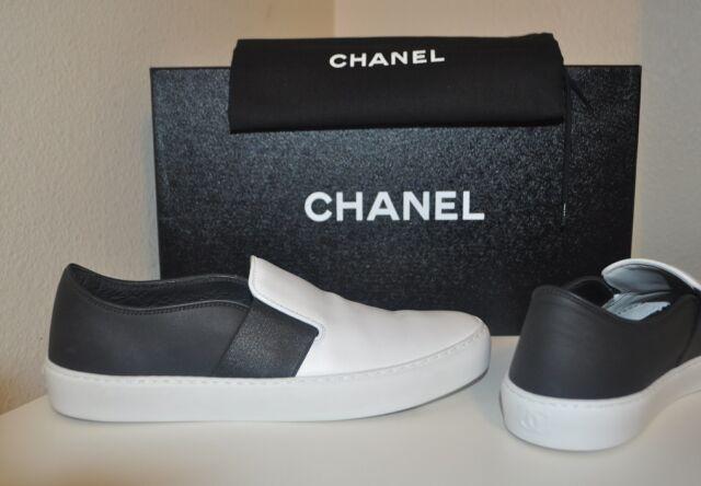 aaeb205987681 CHANEL 16P Black White Leather CC Logo Slip On Trainer Sneaker Flats Shoe  41 -11