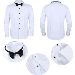 Mens-Tuxedo-Dress-Shirts-Wingtip-Collar-Formal-Working-Business-Uniform-Bow-Tie