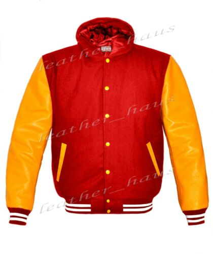 Faux Leather Sleeve Letterman Varsity Women Wool Hoodie Jackets #YS-WSTR-YB-H-FL