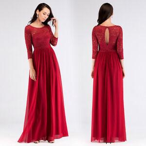 Ever-Pretty-Long-3-4-Lace-Bridesmaid-Dresses-Elegant-Evening-Prom-Party-Dresses