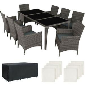 Salon De Jardin Resine Tressee Mobilier 8 Places Table En Verre Et Fauteuils Ebay