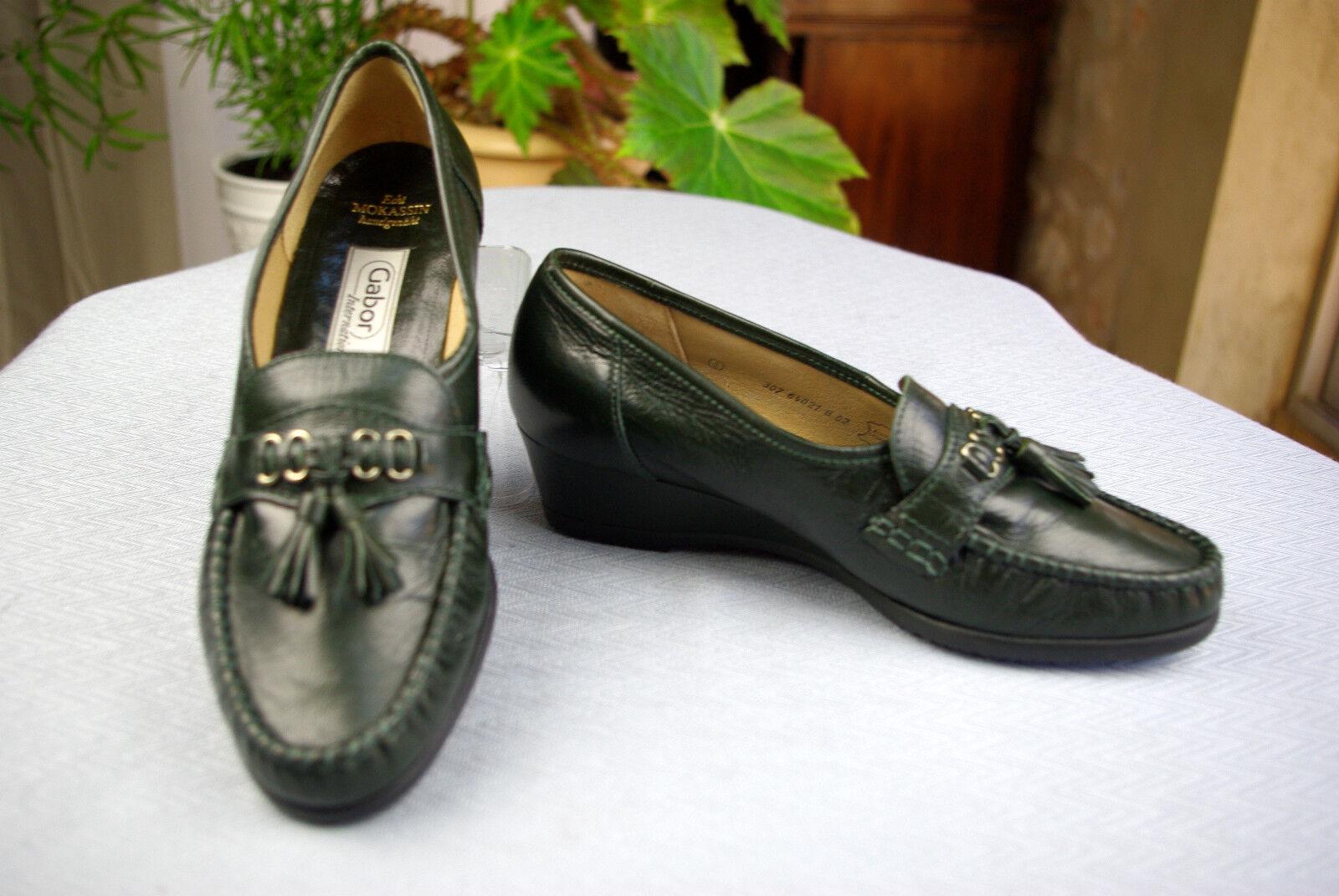 Mocasines tacón tacón tacón bajo GABOR Cuero verde oscuro T 4   36,5 Nuevo  marcas de moda