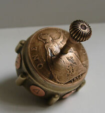 British 1914 WW1 Penny Coin Teetotum Spinning Dice Secret Compartment