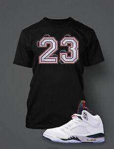 1dcb81d52990d4 23 Graphic Tee shirt To match AIR JORDAN 5 WHITE CEMENT Shoe Pro Cub ...