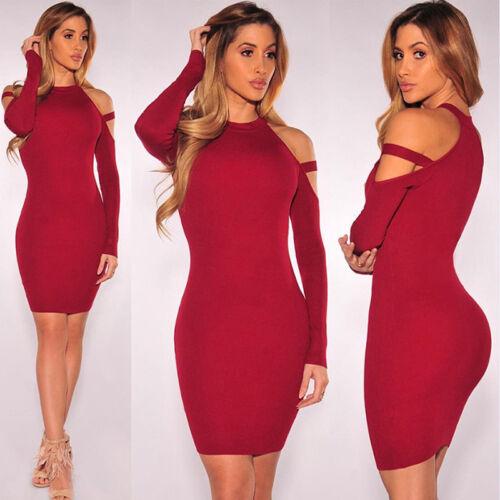 Women's Choker Neck Mini Dress Ladies Cut Out Cold Shoulder Long Sleeve Stretch