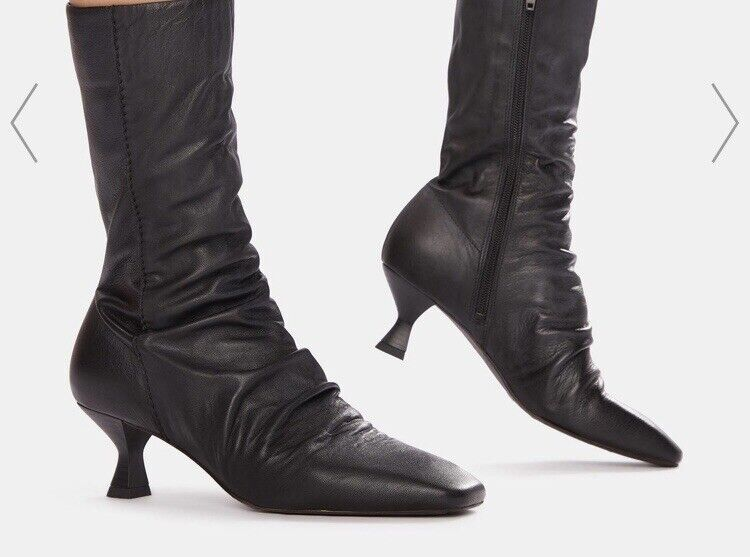 Womens New Free People Marcella Square Toe And Heel Boot Soft Black Leather Sz 8