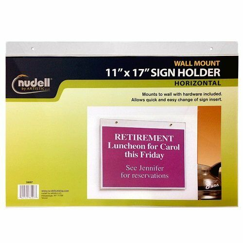 """NEW 17/"""" x 11/"""" Horizontal Wall Mount Sign Holder Clear FREE2DAYSHIP TAXFREE"""
